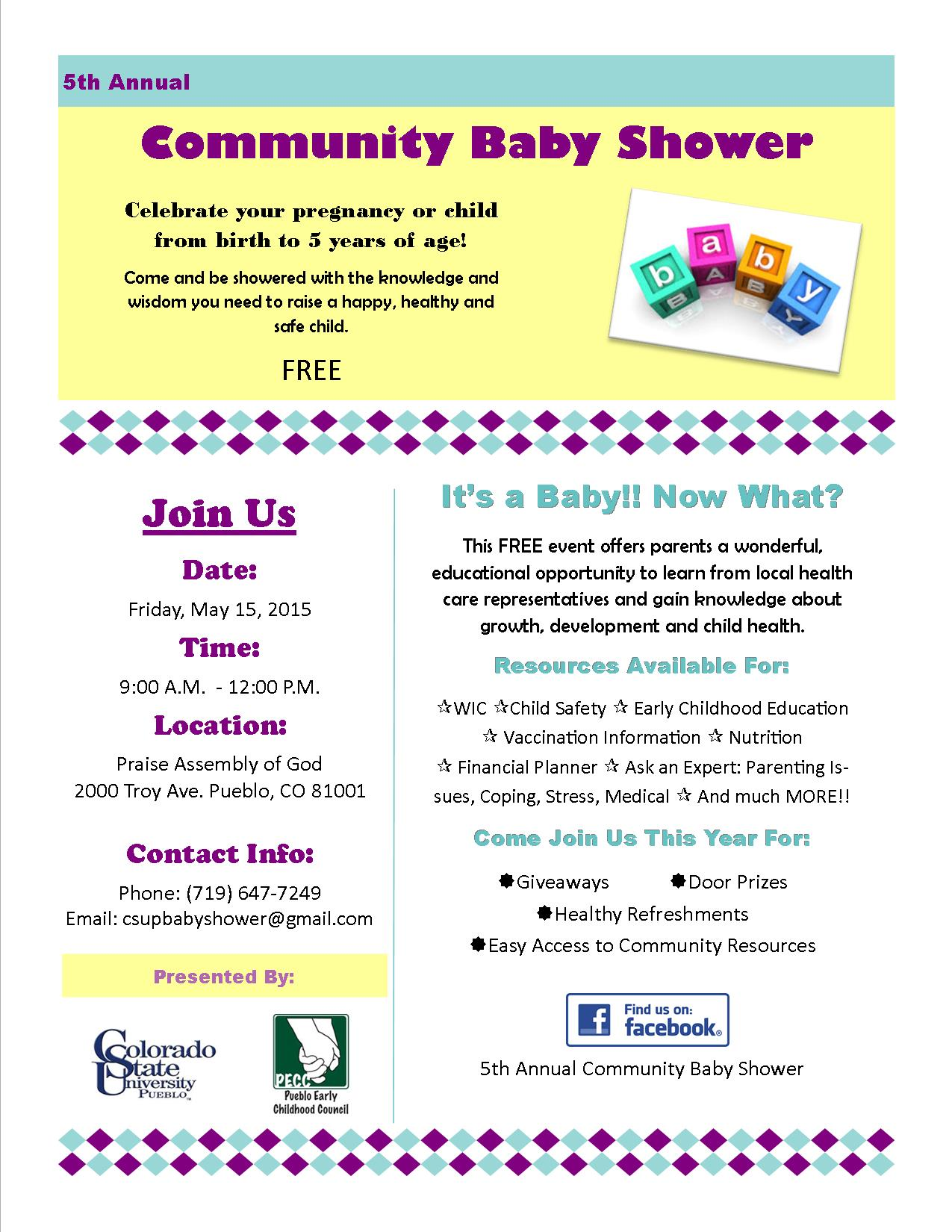 baby shower flyer with contact info